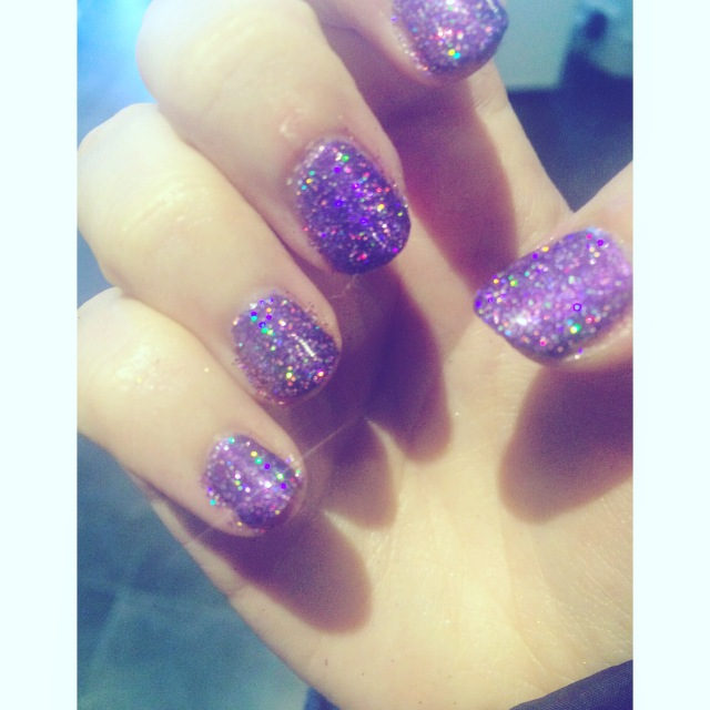 Birthday Nails - Purple Glitter