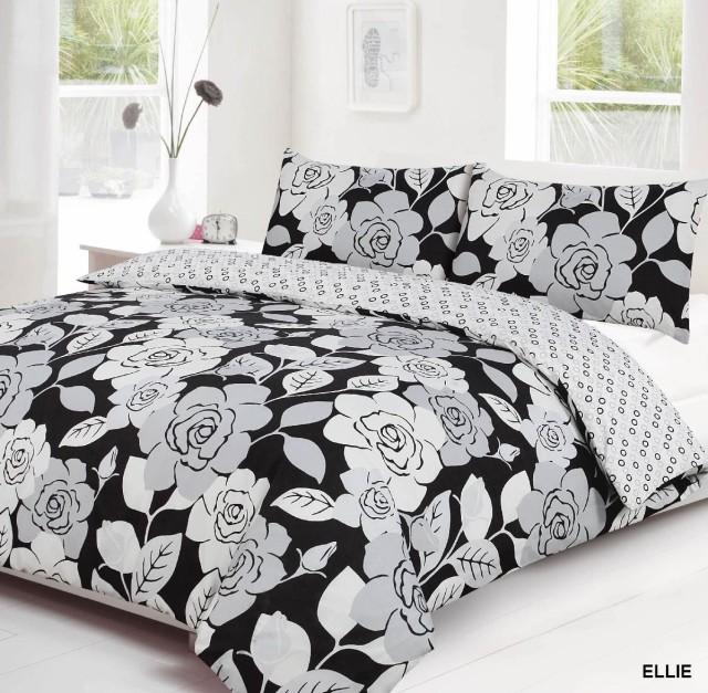 Ellie Duvet Cover & Pillow Case Set Black & White - Textiles Direct